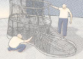 Illustration of two men covering the framework of a large boot with mesh